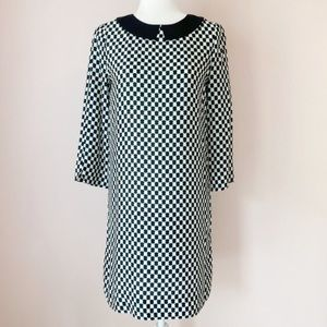 Kate Spade silk geo print collar shift dress S